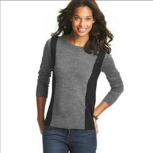Loft NWT Color block Sweater Long Sleeve Gray Navy